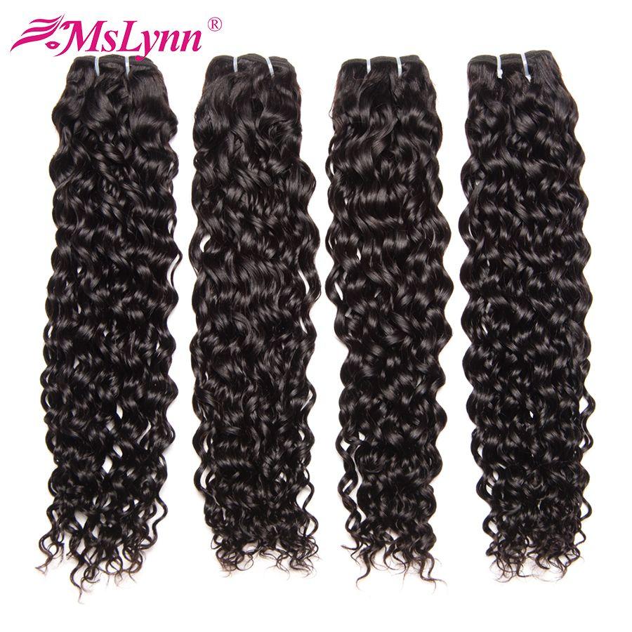 Paquets de vague d'eau paquets d'armure de cheveux brésiliens paquets d'armure de cheveux humains Mslynn cheveux 1 ou 3 paquets de couleur naturelle de cheveux Remy