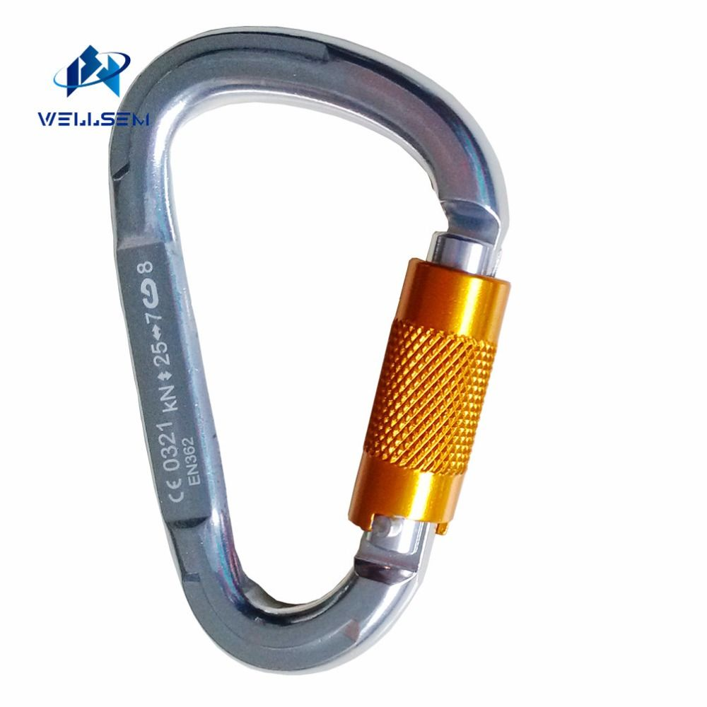 1pc 25KN CE Certification Outdoor Sports Rock Climbing Self Locking Carabiner Auto Master Lock Safety Equipment for yoga hammock