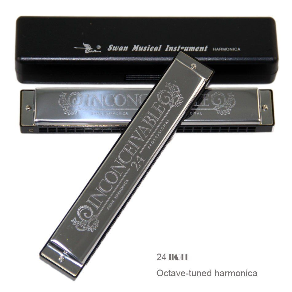 New 2017 Swan 24 Holes Octave-tuned harmonica,metal harmonica,  Key of C with Case