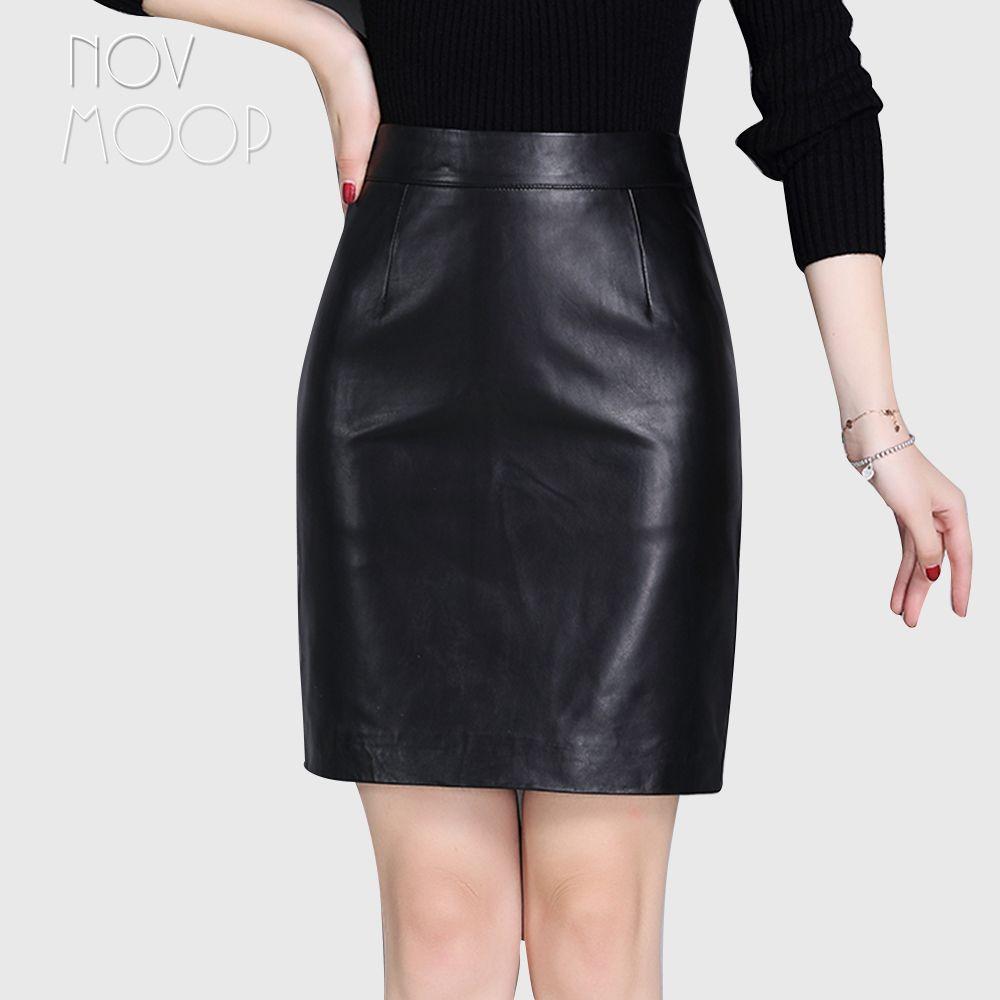 Office style ladies basic black genuine leather real lambskin leather slim pencil skirt faldas mujer etek jupe plus size LT2360