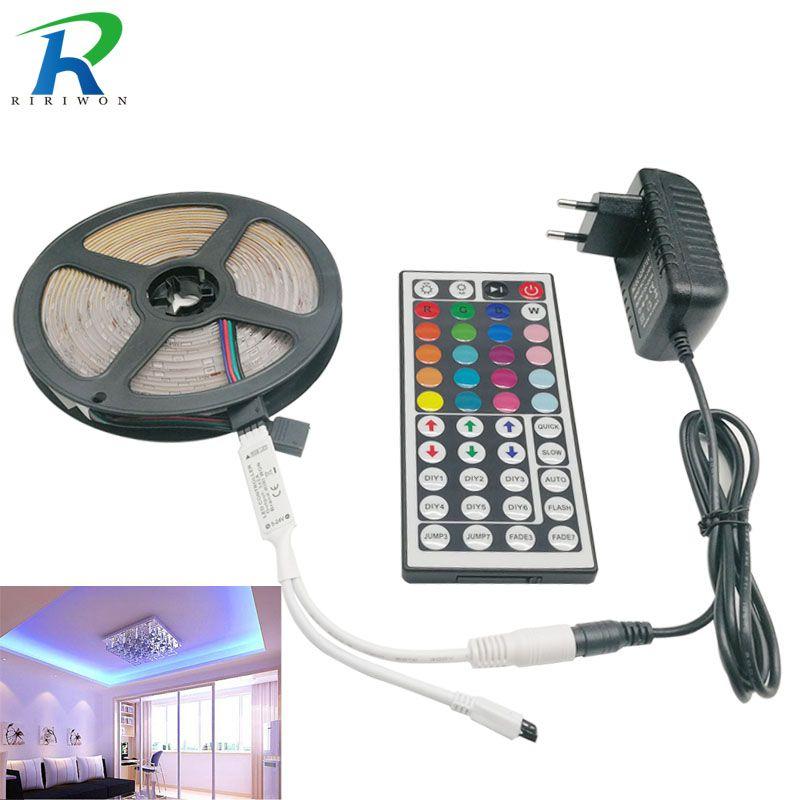 RiRi won 5050 RGB LED bande lumineuse 30 LED S 5 m 10 m 15 m flexible LED s diode LED bande SMD 44 clés IR contrôleur 12 V adaptateur secteur