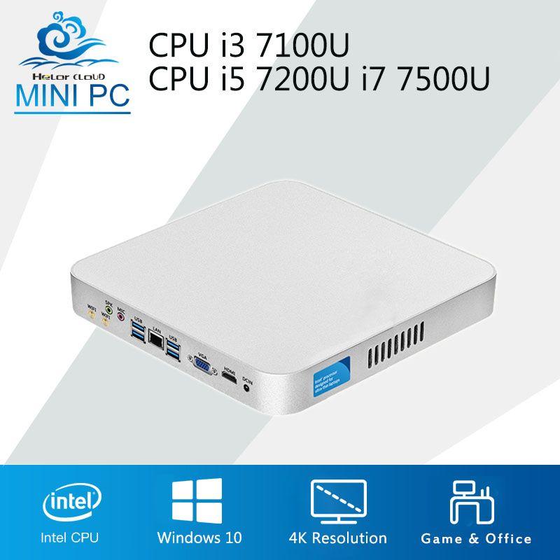 Intel CPU Mini Computer Cooling Fan Core i3 7100U i5 7200U i7 7500U Windows 10 4K Mini PC 8GB 16GB RAM DDR4 Desktop Computer