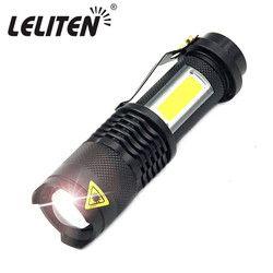 3800LM XML-Q5 + COB LED linterna mini zoom portable torchflashlight uso AA 14500 batería impermeable vida iluminación linterna