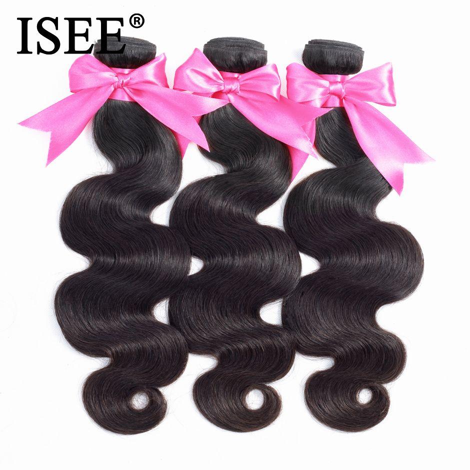 ISEE HAIR Peruvian Body Wave Human Hair Bundles 100% Remy Hair Extension Natural <font><b>Color</b></font> Can Buy 1/ 3/ 4 Bundles Hair Weaves