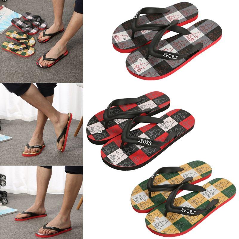 T20 TS21 Date D'été Coloré Plaid Pantoufles Mens Confortable String Flip Flops Antidérapant Sanda