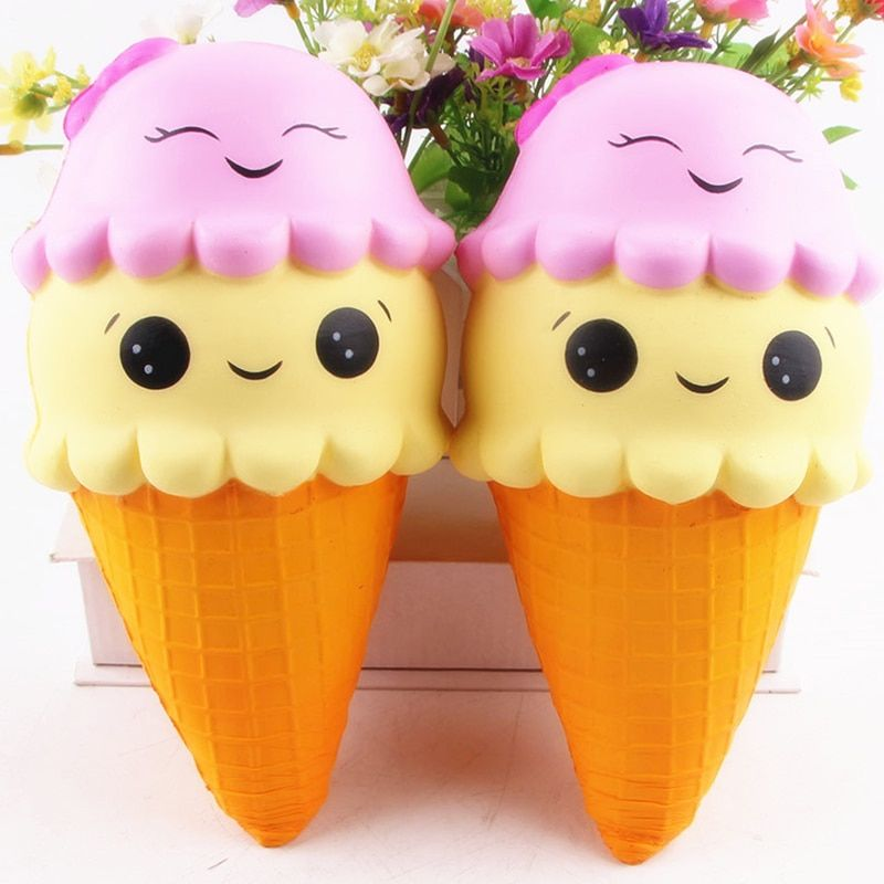 ANENG Jumbo 22CM Cartoon Double Smiley Face Ice Cream Squishy Slow Rising Sweet scented Charms Food rebound Bread Kid Toys