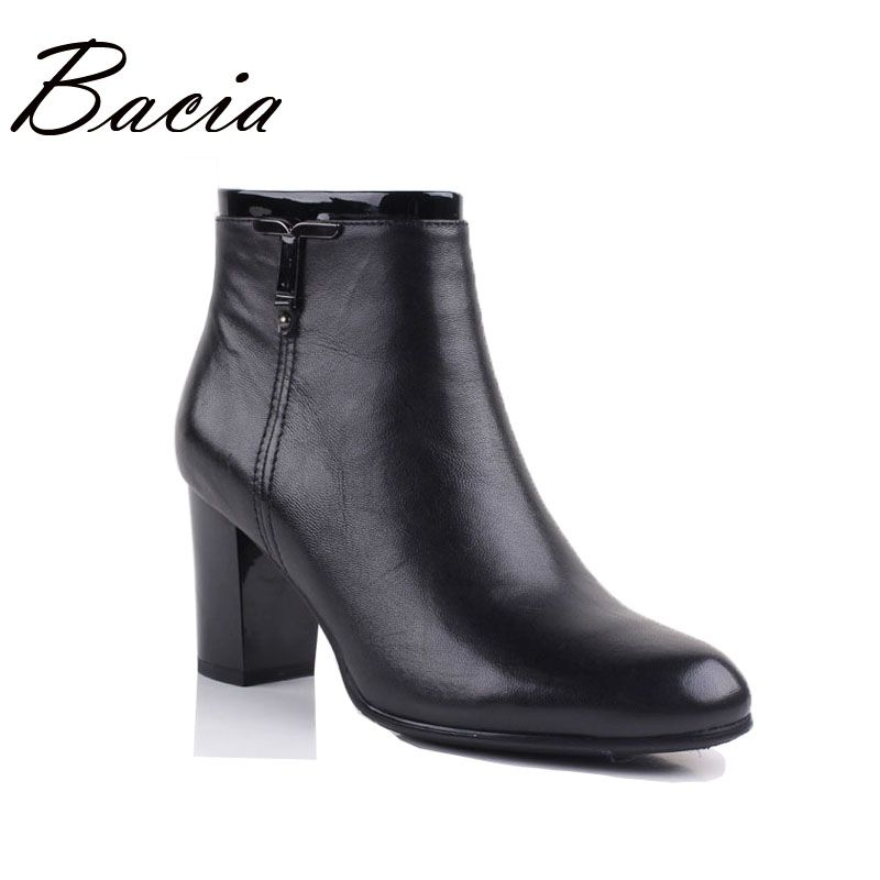 Bacia Low Heel Revit Boots Women's Winter Leather Handmade Genuine Short Plush Shoes Ankle-high Soft Comfortable Boots VE003