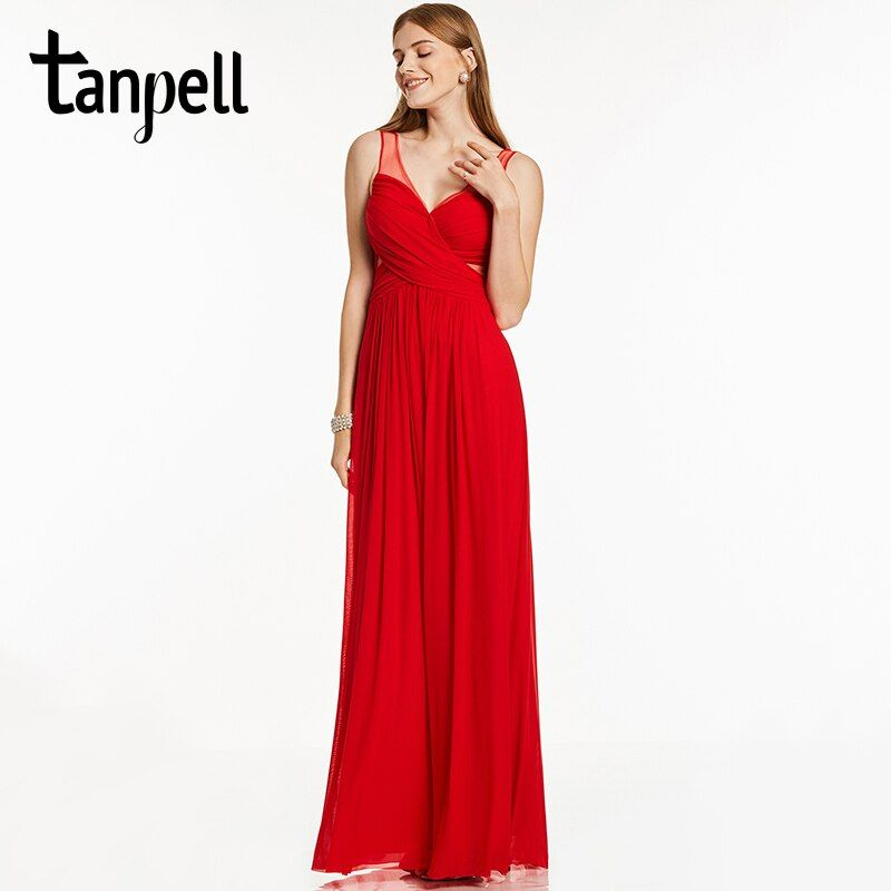Tanpell straps evening dress sexy backless black sleeveless straight floor length dress cheap long red party formal evening gown