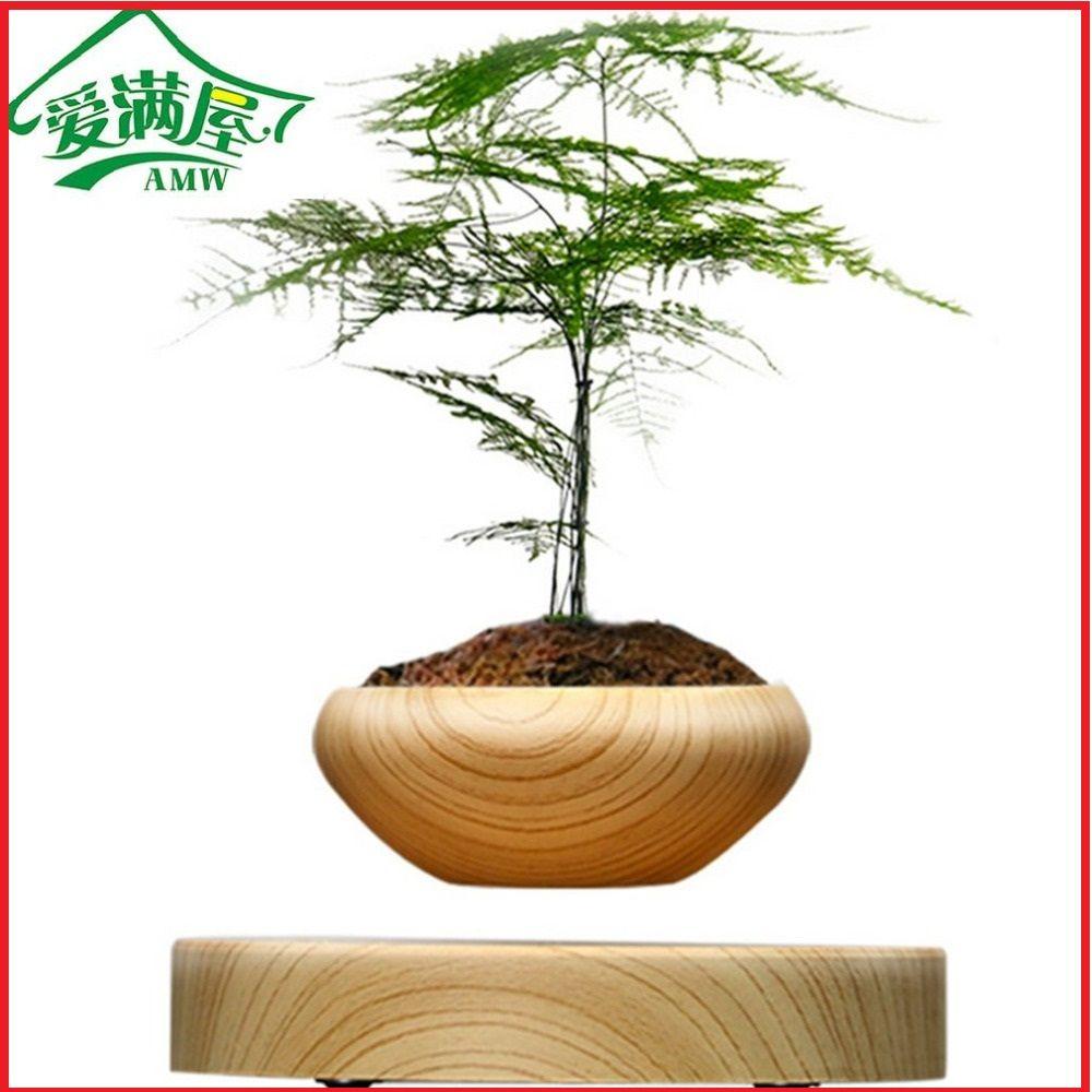 AMW Magnétique Suspendu Plante En Pot Bois Grain Rond LED Lévitation L'air intérieur Pot pour La Maison et Décoration De Bureau Pas usine