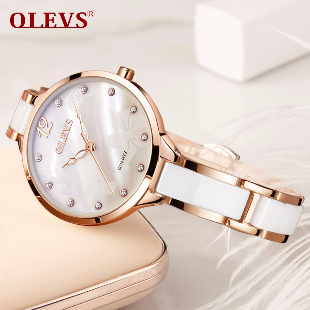 OLEVS High Quality Japanese Movement Quartz Women's Watch Stainless Steel Ceramic Bracelet Fashion Ladies Watch Waterproof Clock