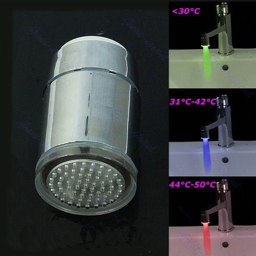 F85 Kostenloser Versand 3 Farbe LED Filter Glow Waschbecken Wasserhahn Licht Temperaturfühler Tap