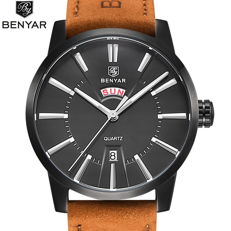 2017 NEW Luxury Brand BENYAR Men Sport Watches Men's Quartz Clock Man Army Military Leather Blue Wrist Watch Relogio Masculino