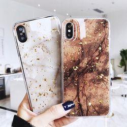 Luxe Feuille D'or Bling Marbre Téléphone Cas Pour iPhone X 10 Couverture Trou Tpu Couverture Pour iPhone 7 8 6 6 s Plus Glitter Cas Coque