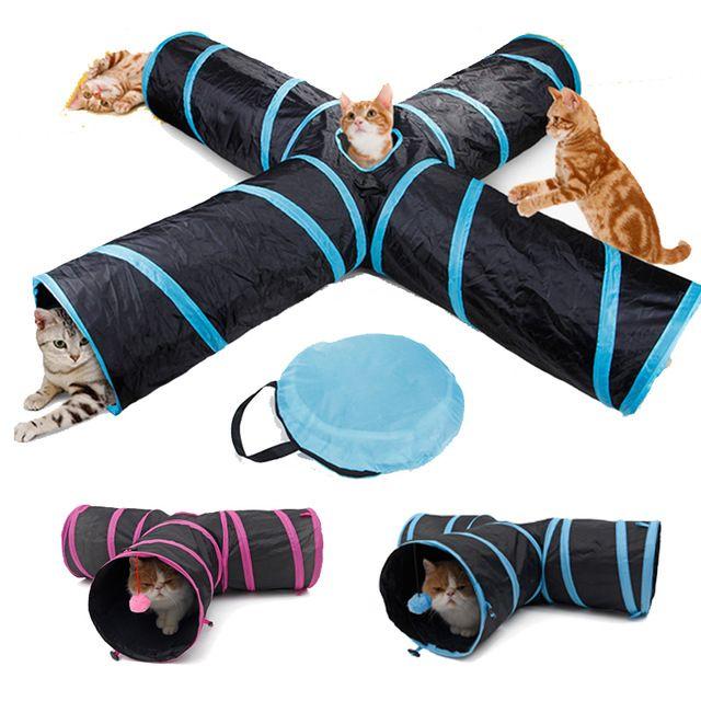 Livraison directe Pet chat Tunnel jouets pour chat chaton 4 trous pliable froissé chat jouer Tunnel jouet