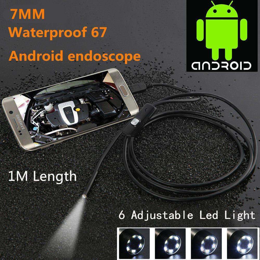 Wasserdicht 480 p HD 7 mmEndoscope Objektiv Starre Kabel Mini USB Inspektion Kamera Schlange Rohr mit 6 Led-leuchten Endoskop für Telefon PC
