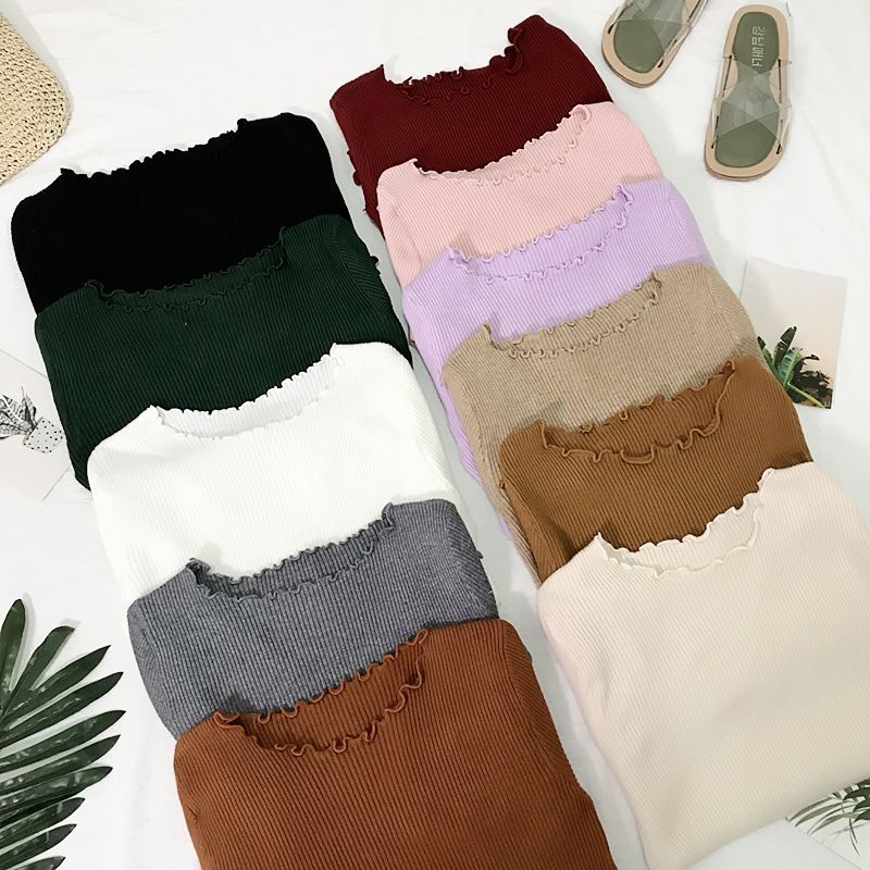 Frill Round Neck Autumn Knitted Sweater Womens Sweaters 2018 Winter Tops For Women Pullover Jumper Pull Femme Hiver Dames Truien