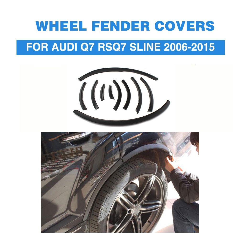PU Helle Schwarz Schmale Auto Fähre Augenbraue Streifen Fender Flares Rad Schneidet Arch Lip Abdeckungen Für Audi Q7 SQ7 RSQ7 sline 2006-2015