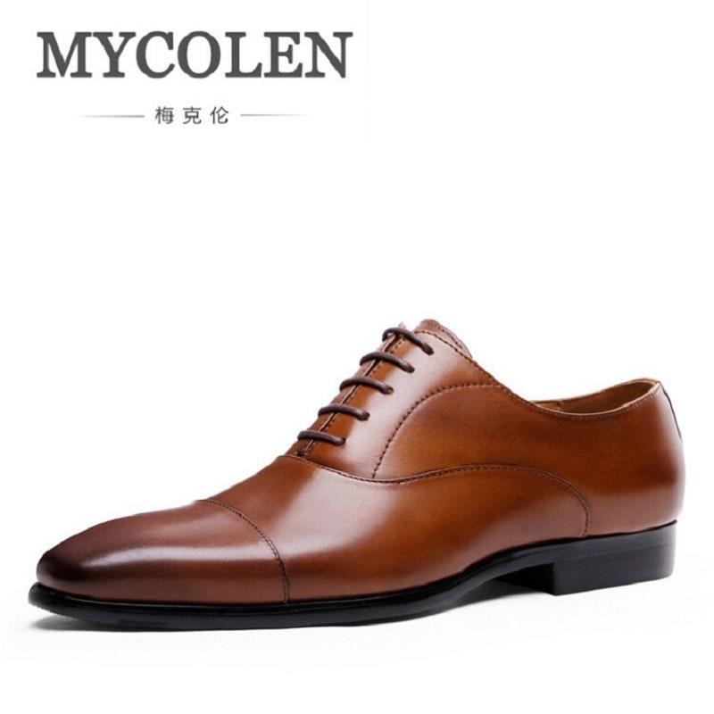 MYCOLEN Moda 2017 Otoño Británico Zapatos Para Hombre Zapatos de Vestir Cómodas Mens Brown Oxford Zapatos Hombre Hombres de Cuero Genuino Pisos