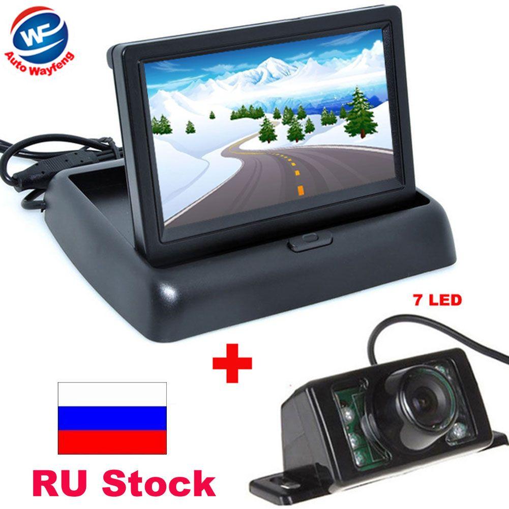 Caméra de vue arrière de CCD de voiture de Vision nocturne de 7LED avec l'aide de stationnement automatique de caméra de moniteur pliable vidéo de voiture d'affichage à cristaux liquides de couleur de 4.3 pouces
