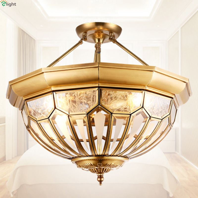 Europe Vintage Copper Led Ceiling Lights Luminarias Lustre Glass Bedroom Led Ceiling Lamp Fixtures Led Ceiling Light Lamparas