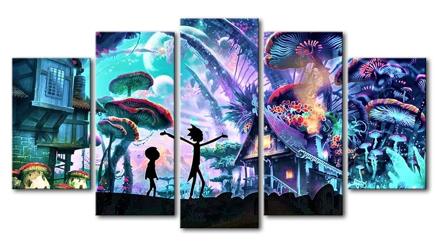 5 Panels Canvas Painting rick and morty poster Wall Art Painting Modern Home Decor Picture FP430