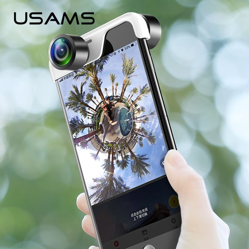 Mobilephone 360 Panoramic Camera Lens  for iPhone USAMS Original Phones Panorama lens App Panoclip Phone Panorama Shot Dual lens