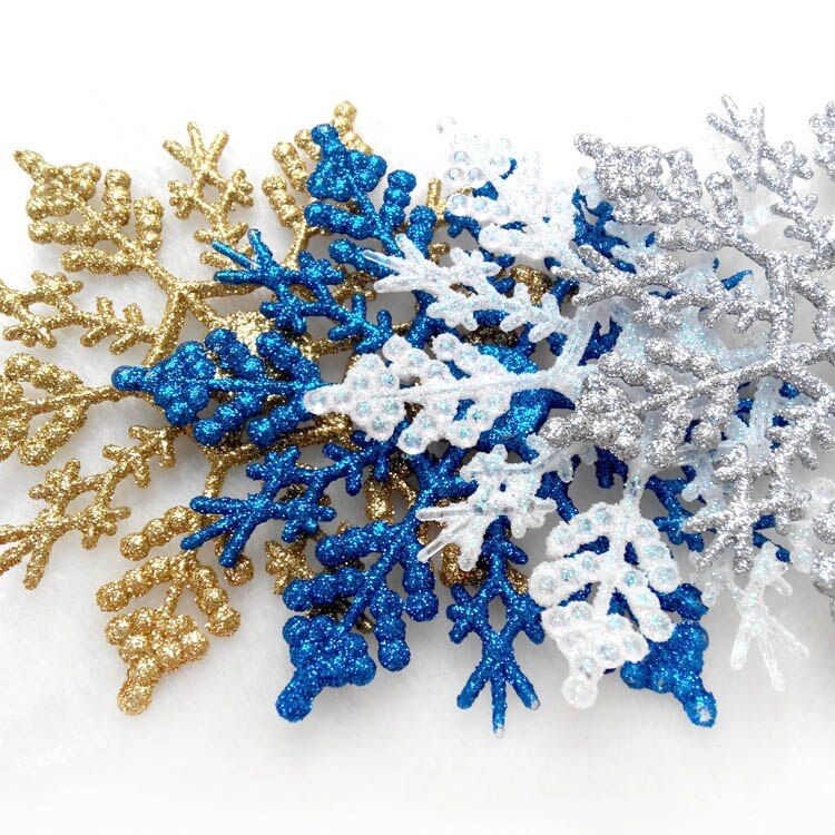 24 Pcs Glitter Flocons De Neige De Noël Arbre De Noël Suspendus Ornements Festival De Noël Nouvel An Décoration Fournitures 2017ing