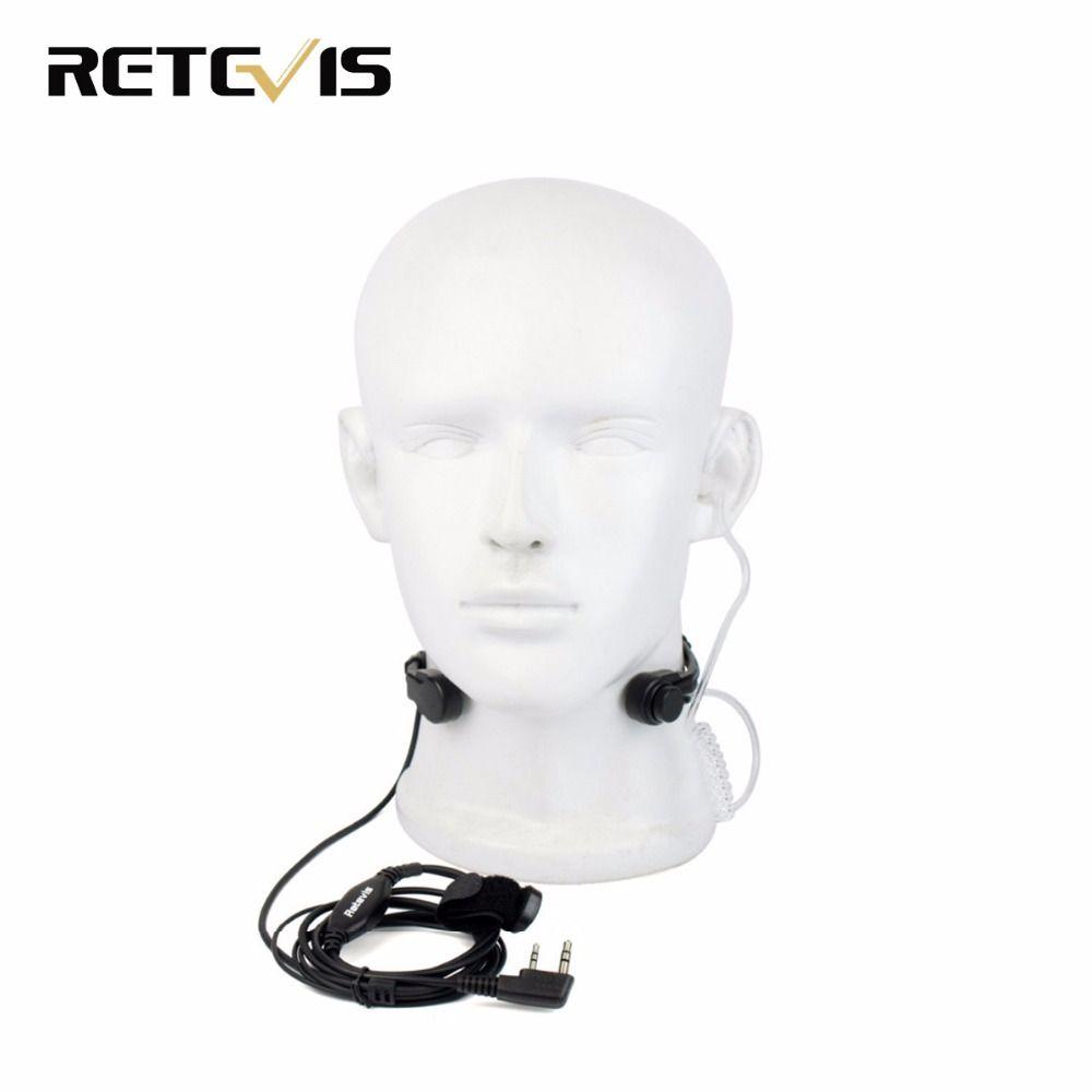 2 Pin Throat Mic PTT Headset  for KENWOOD BAOFENG BF-888S UV-5R Retevis H777 RT5R TYT Ham Radio Walkie Talkie C9026A