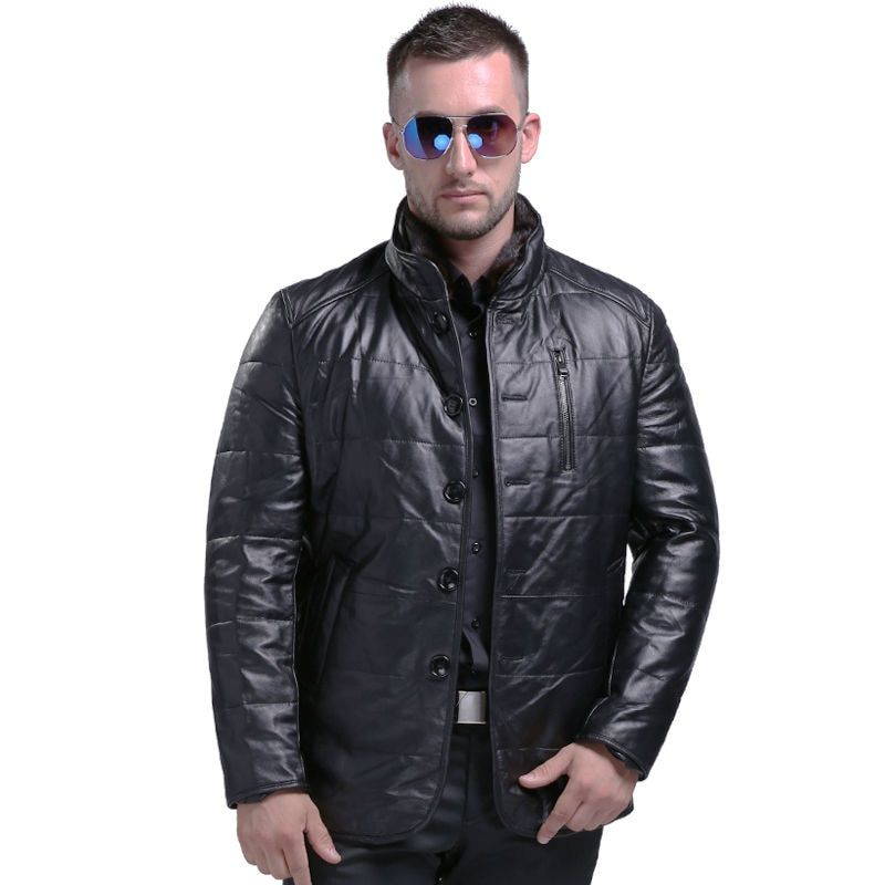Men's Fashion Sheepskin Genuine Leather Down Coat With Mink Fur Collar Winter Warm Real Leather White Duck Down Coat 808