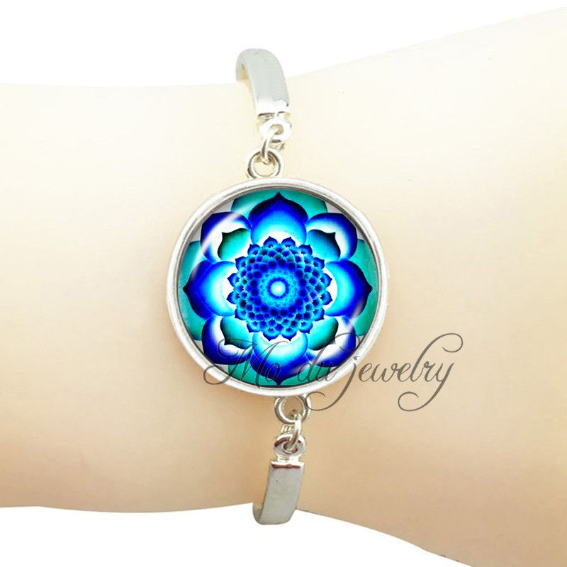 Blue mandala bracelet charming bangle fashion lotus flower photo bracelet glass dome plant jewelry silver plated women bracelet