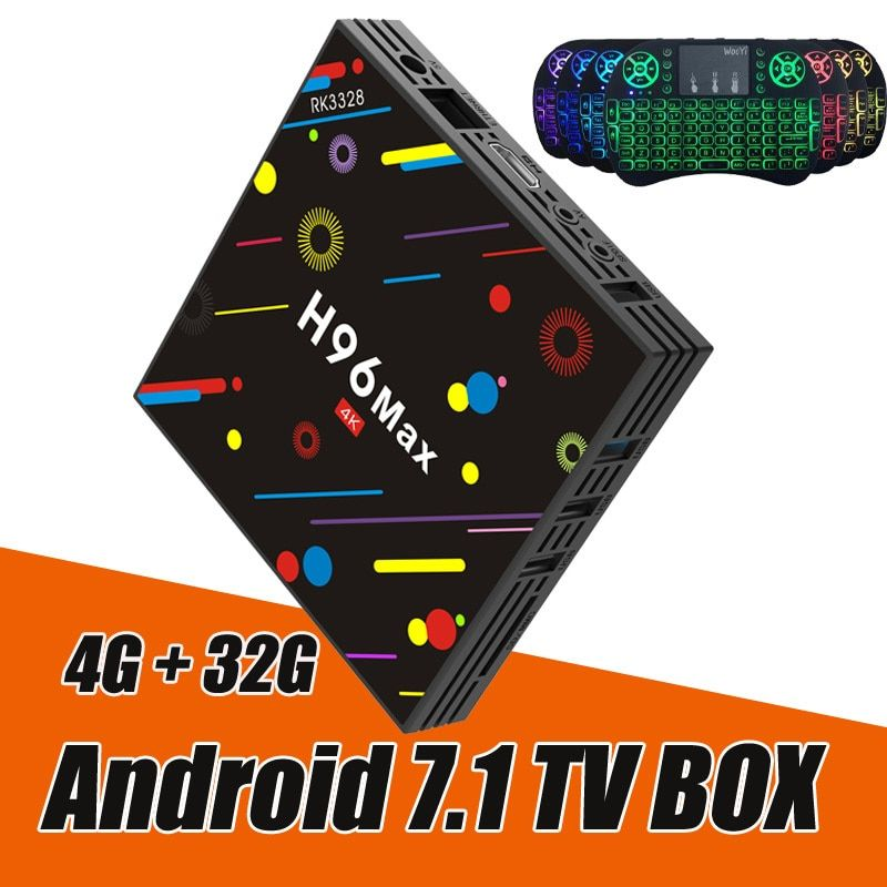 RUIJIE 4G 32G H96 Max H2 Android 7.1 TV Box RK3328 Quad Core 4K Smart Tv VP9 HDR10 USB3.0 WiFi Bluetooth 4.0 Media Player