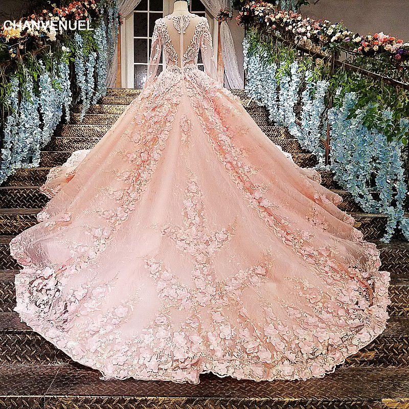 LS12585 Pink evening gown zipper back 3D flowers organza ball gown long evening dress on sale abendkleider lang real photos