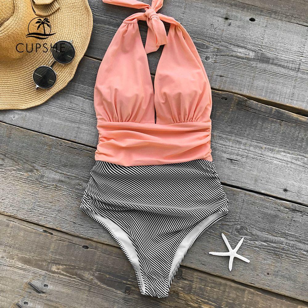 CUPSHE Keeping You Accompained Stripe One-piece Swimsuit V neck Backless Halter Sexy Bikini 2019 Ladies Beach Bathing Swimwear