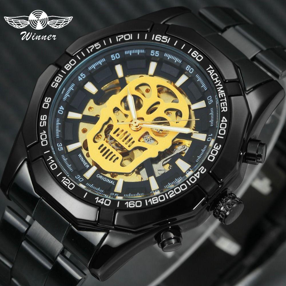 GAGNANT Steampunk Crâne montre mécanique automatique Hommes acier inoxydable noir Bracelet Squelette Cadran Conception Fraîche de Mode montres-bracelets