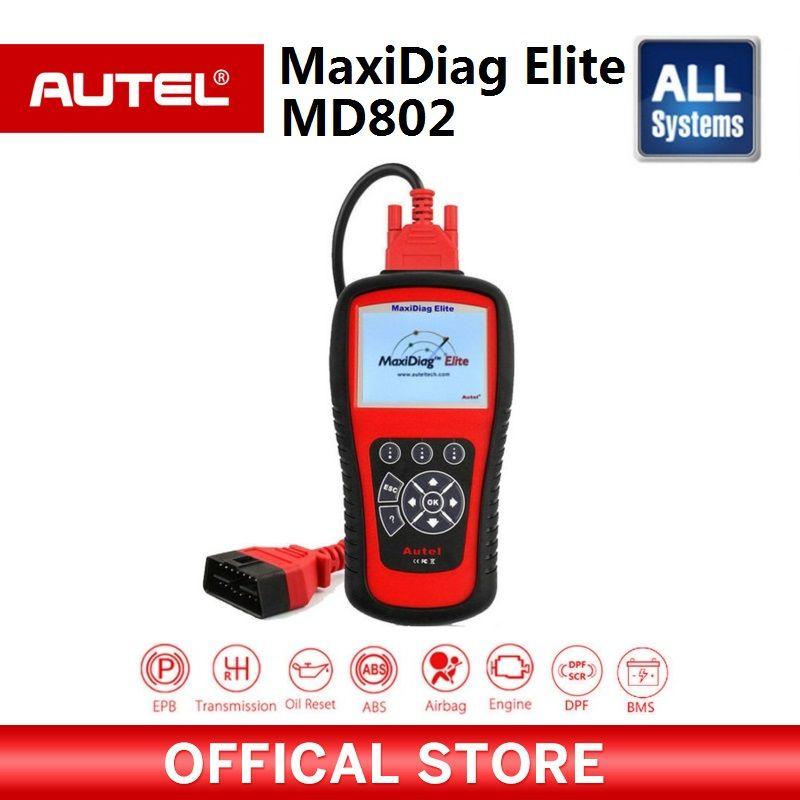 AUTEL MaxiDiag Elite MD802 All system car detector OBDII code reader scanner for EPB Oil reset OBD2 diagnostic tool PK MD805