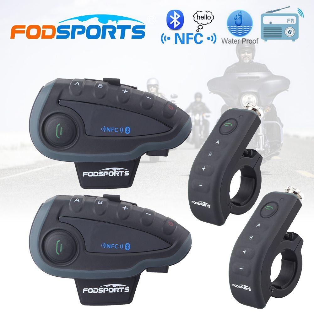 2 шт. fodsports 5 всадников V8 1200 м Moto rcycle домофонных Bluetooth шлем гарнитура с пультом дистанционного управления FM BT Moto intercomunicador