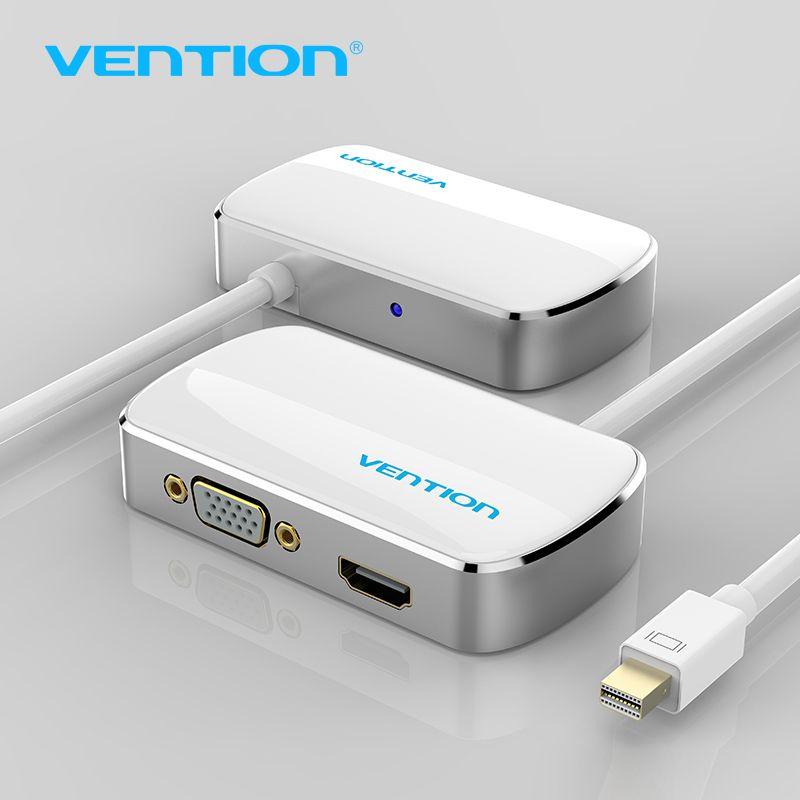 Convention Thunderbolt HDMI VGA 4 K 2 en 1 Mini Displayport Vers HDMI VGA Câble Adaptateur Pour Apple MacBook Pro iMac Mac HDTV projecteur
