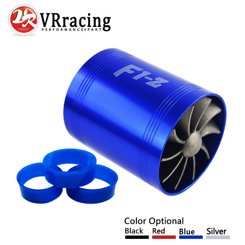 VR RACING - F1-Z Double Turbine Turbo Charger Air Intake Gas Fuel Saver Fan Car Supercharger VR-FSD11