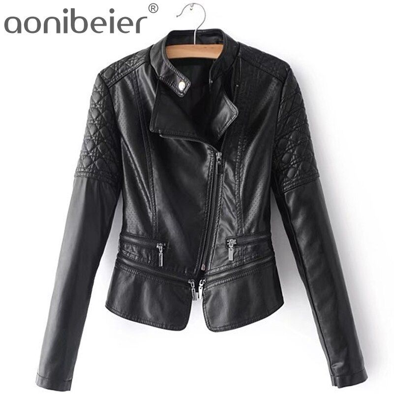 Aonibeier Motorcycle Jacket Fashion Personalized PU Jacket Mandarin Collar Women Coat Autumn Slim Lady Tops Long Sleeve Outwear