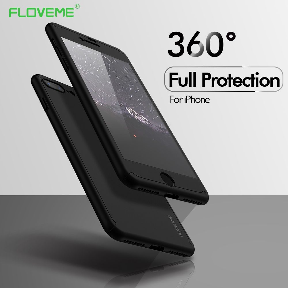 FLOVEME 360 Protective Case For iPhone 6 6S 7 8 Plus 5 5S SE X Glass Front Back Cover For iPhone X 8 7 6S Full Coverage Shells