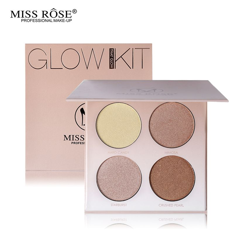 Miss Rose Professional Glow Kit Bronzer and Highlighter Makeup Set Face Contour Highlight Palette Gleam Golden Shimmer Powder