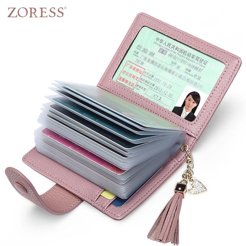 Zoress Пояса из натуральной кожи Для женщин Мода держателя карты 22 слотов для карт большой Ёмкость Обувь для девочек ID кредитных карт сумка кош...