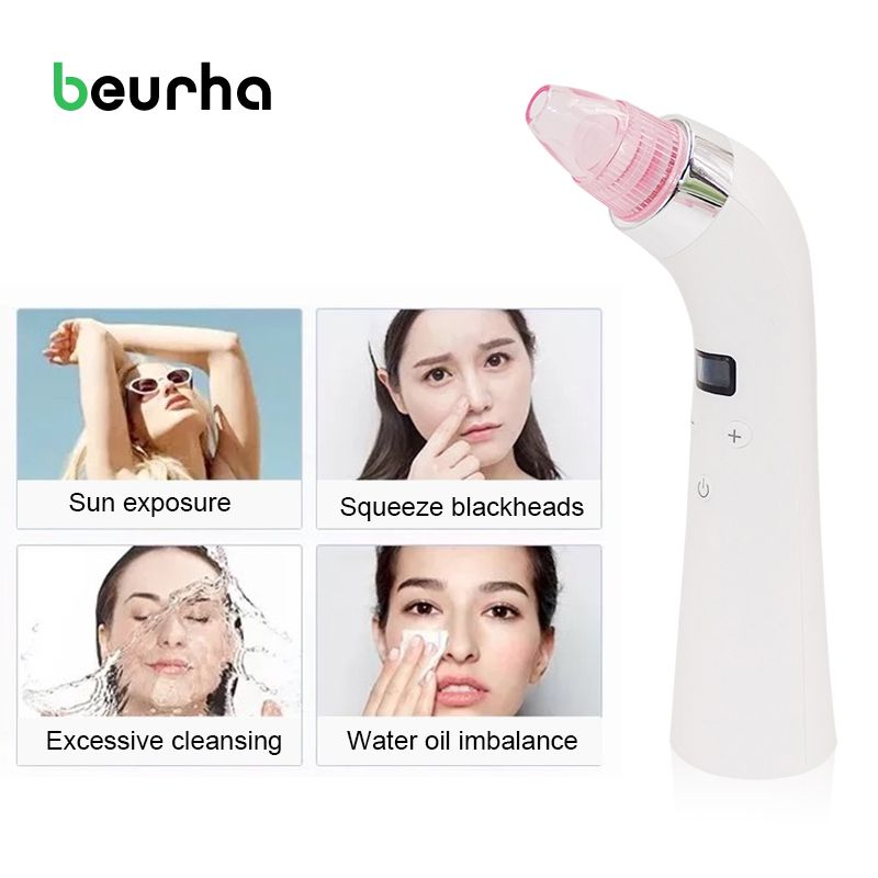 Beurha Face Facial Pore Cleanser Comedo Sucker Vacuum Suction Blackhead Eliminator Acne Remover Beauty Massage Device Skin Care