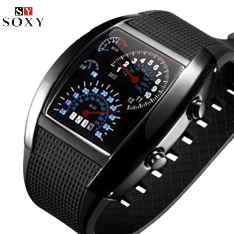 Fashion Men's Watch Unique LED Digital Watch Men Watch Electronic Sport Watches Men Rubber Band Clock montre homme reloj hombre