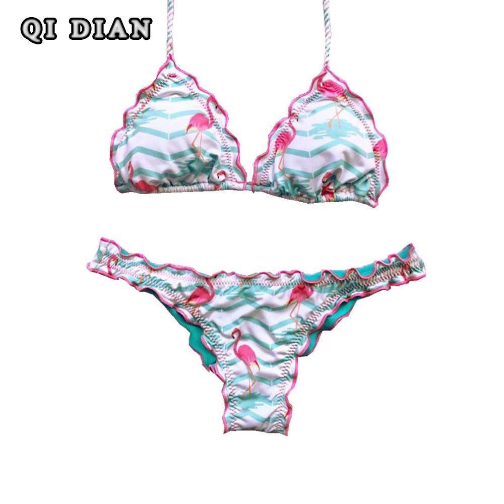 QI DIAN Sexy Imprimé Bikini 2017 Été Maillot de Bain Femmes Bandage Bikini Ensemble Push Up Maillots de bain Femme Maillots De Bain Brésilien biquinis Q32