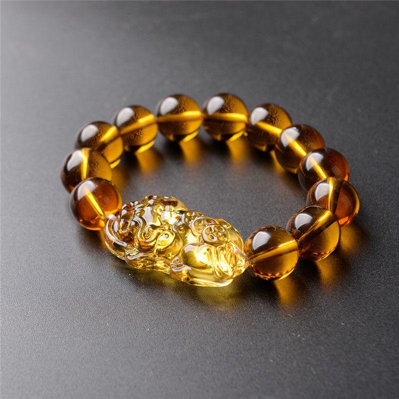 Prix de gros De Mode Feng Shui Jaune Pi Yao Pi Xiu Bracelet Perle pour La Richesse Chance 10mm