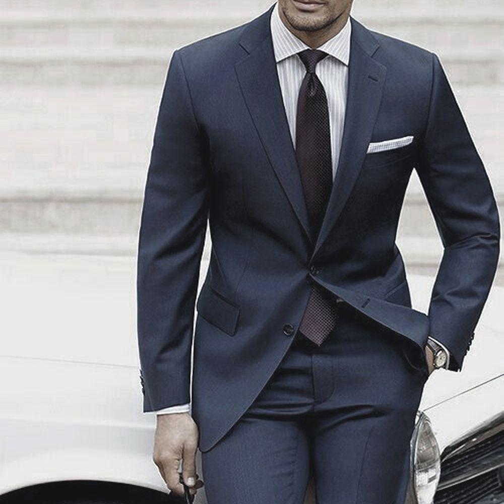 Hochzeit Anzüge Für Männer 2018 Nach Maß Herren Anzüge Mit Hosen Dunkelblau Grau Zugeschnitten Anzug Kostüm Homme Mariage Luxe terno Schlank