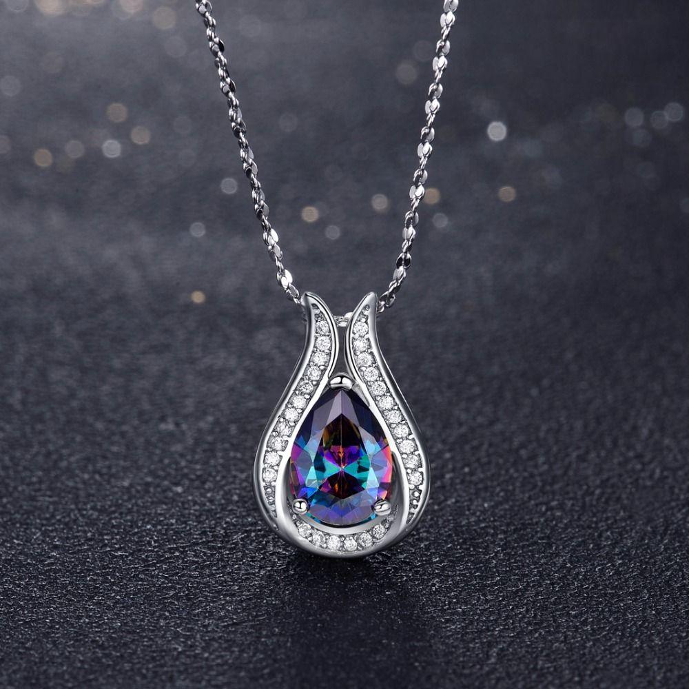 En gros 100% réel 925 en argent Sterling pendentif marque TOP qualité arc-en-ciel feu mystique collier pour femmes cadeau bijoux