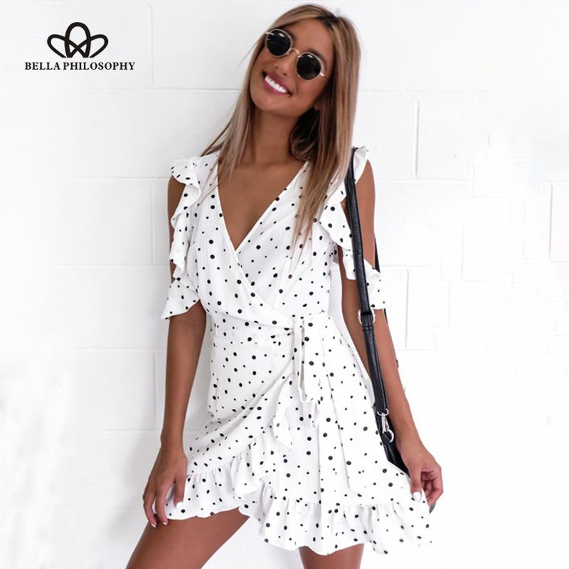 Bella Philosophy Summer Ruffle <font><b>cold</b></font> shoulder polka dot print dress Vintage irregular bow wrap short chic chiffon white dress