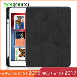 For iPad Pro 10.5 Case with Pencil Holder for iPad Air 3 10.5 2019 Case, GOOJODOQ Ultra Slim Lightweight Smart Cover 10.5 inch